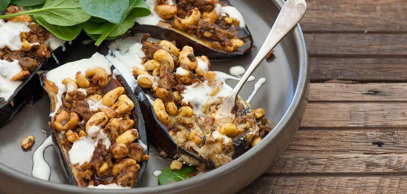veganistisch recept eenvoudige ovenschotel gevulde aubergine