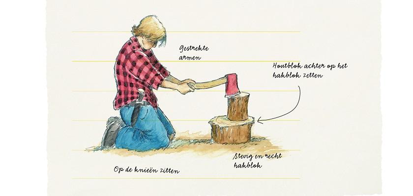 Zo ga je veilig om met een bijl als je wilt houthakken.